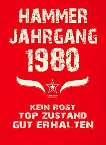 Damen Kurzarm T-Shirt Girlieshirt :-: Geburtstagsgeschenk Geschenkidee für Sie zum 37. Geburtstag :-: Hammer Jahrgang 1980 :-: Farbe: rot Rot