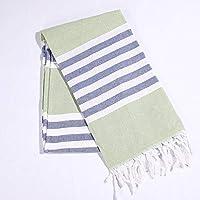 JinYun - Toalla de baño turca de algodón Rayas con borlas para Viajes, Camping,