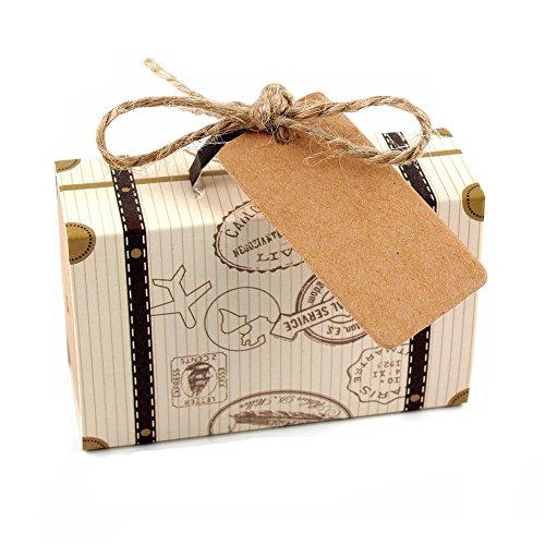 Yalulu 50 x Mini Valise Vintage Rustique Brun Bonbonnière Kraft Boîte à Dragées de Bonbons pour Mariage Faveur Cadeau