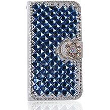 LG L Fino Funda, LG D295 Funda, Lifeturt [ Diamante azul ] Cubierta de la caja de cuero superior de la carpeta del libro para LG L Fino/D295