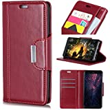 HTC U12 Life - Durable Protective Case Skin Wallet Style Flip Cover Case Compatible With HTC U12 Life ONLY (HTC U12 Life Cover Wine Red)