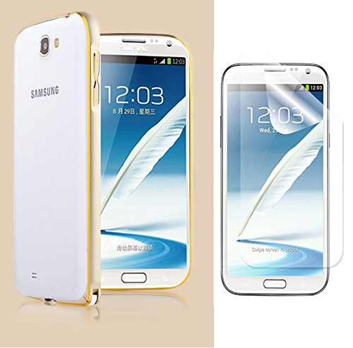 SDO Luxury Dual Tone Arc Edge Screwless Metal Bumper Case Cover for Samsung Galaxy Note 2 N7100 (Gold) with Screen Guard  available at amazon for Rs.195