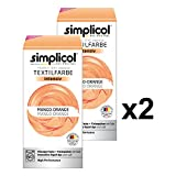 Simplicol Textilfarbe intensiv (18 Farben), Mango-Orange 1802 2er Pack: Einfaches Färben in der Waschmaschine, All-in-1 Komplettpackung