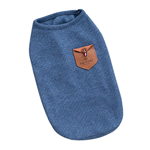 Homyl Baumwolle Hundebekleidung Hunde T-Shirt Weste Sommer Kleider Kleidung, blau / grau - Blau S -