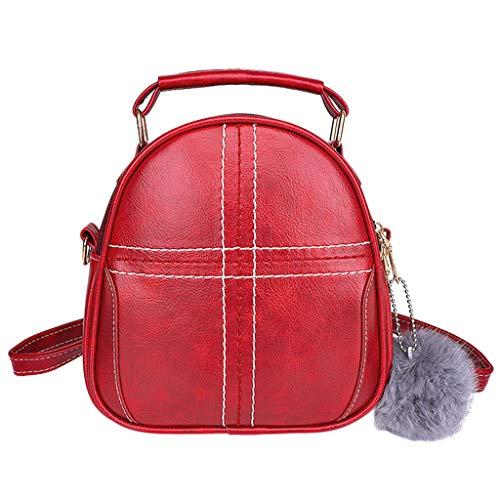 Tohole Rucksack Damen Schultertasche Waterproof Pu Leder Casual Schultasche Daypacks Kleinen Rucksack Anti-Theft Rucksack Tragetaschen(rot) -