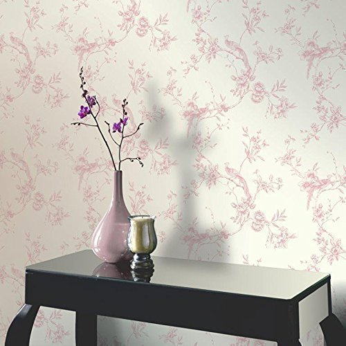 Price comparison product image Arthouse Opera Chinoise Floral Pattern Songbird Flower Motif Wallpaper (Pink 422802)