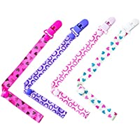 4 Pack Baby Dummy Clip Pacifier Strap Holder, Multicoloured Soother Clip Chain with Washable Soother Leash for Unisex Newborn Girls,Love Heart and Semicircle Style