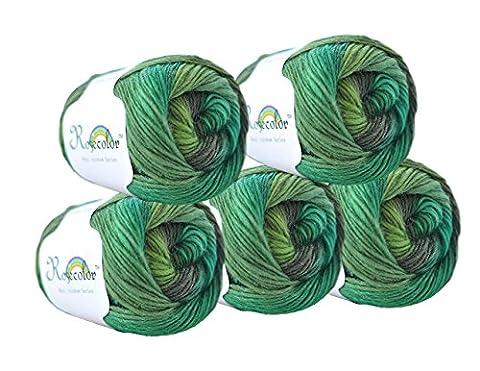 RoseColor Hand gefärbt Farbverlauf Wolle Garn–Rainbow, 05, 5 Balls(0.55LBS)