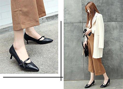 ALUK- Printemps - Coréen tempérament perlé chaussures pointues avec une seule bretelles minces ( couleur : Noir , taille : 38 ) Noir