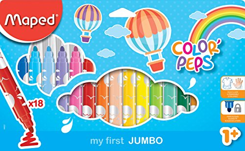 Maped M846221 Filzstifte Color'Peps, my first JUMBO, 18 Stück in Blisterverpackung, mehrere Farben