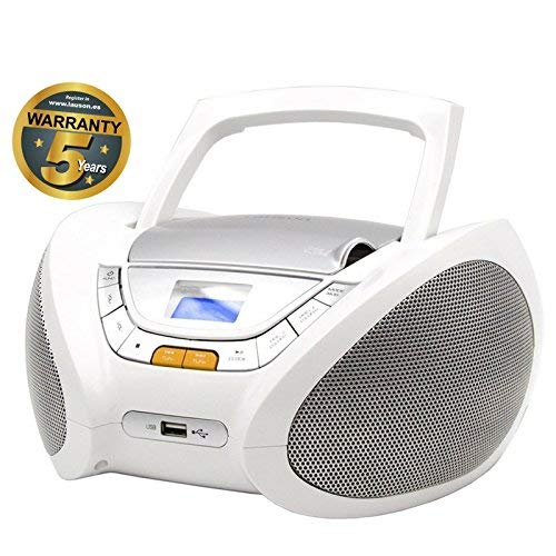 Lauson CP443 - Radio CD Portatile USB, Lettore CD Bambini, Stereo Radio FM, Boombox, CD, MP3 Player, AUX In, LCD-Display, Bianco