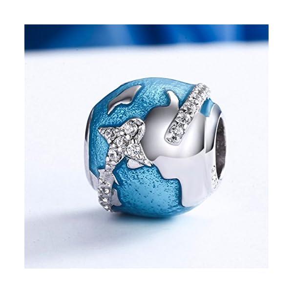 Argent Sterling 925 Style Européen globe voyage Bracelet Bead Charm