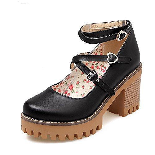 Voguezone009 Femmes Boucle Haute Talon Shimmer Pure Round Toe Ballerines Noir
