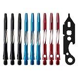 COSDDI 41/45 mm, 9/12 Pezzi Aste per Freccette in Alluminio Aste per Freccette Medie Raccordo di Lancio con O-Ring in Gomma, Temperino per Freccette