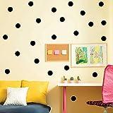 Mehrfarbig Polka Dot Tupfen Vinyl Wandtattoos Runder Kreis Wandaufkleber Wandkunst Kinderzimmer Babyzimmer Dekoration, 102pcs /200pcs (5cm, 100 Punkte, Schwarz)