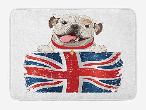 tgyew English Bulldog Bath Mat, Happy Pet Bulldog Holding a Union Jack Flag of The Great Britain, Plush Bathroom Decor Mat with Non Slip Backing, 23.6 W X 15.7 W Inches, Cream Navy Blue Red -