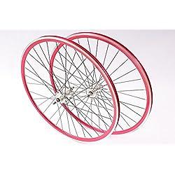 'KHE Juego de ruedas Fixie 700C 28Rodamientos industriales Llanta de doble cámara con rojo fijo + Rueda libre fabricado en Alemania.
