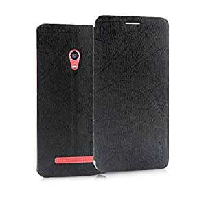 Pudini Yusi Rain Series Leather Flip Cover Case for Asus Zenfone 5 - Black/Dark Grey