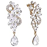 Clearine Damen Böhmisch Boho Kristall Blume Hochzeit Braut Chandelier Tropfen Bling Long Screw Back Clip-On Dangle Ohrclip Ohrringe Klar Gold-Ton