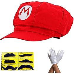 Super Mario Gorra - Disfraz para Adultos y niños en 4 Colores Diferentes + Guantes y 6X Barba pegajosa Carnaval y Cosplay