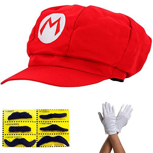 Super Mario Cappello - Costume Set per Adulti e Bambini + 1x Guanti e 6x barba appiccicosa - Perfetto per Carnevale e Cosplay - Cappy Classic Cap
