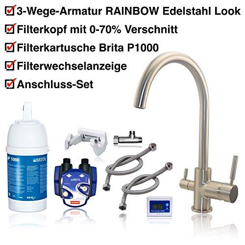 3vie rubinetto Rainbow effetto acciaio inox + Brita filtro dell' acqua per sotto TAVOLO installationskit Indicatore cambio: cartuccia filtro Brita P1000, testa per filtro, cartuccia, tubi, Valvola ad angolo adattatore.