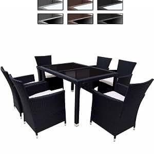 Miadomodo - Salon de Jardin 6 Fauteuils + 1 Table en Résine Tressée Coussins Inlcus (Couleur au Choix)