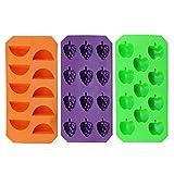com-four ® 3er Eiswürfelformen-Set in 3 verschiedenen Motiven und Farben (3er groß grün/orange/lila)