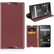 Funda Sony Xperia Z5 Compact, Mobesv Funda Cuero, Carcasa en libro, Ranuras para Tarjetas, Soporte Para Sony Xperia Z5 Compact - Rojo