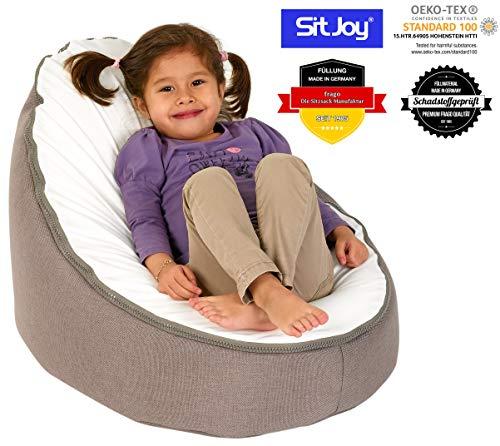 Sitjoy Baby-Sitzsack doomoo   Toxproof-Perlen Füllung   Home Taupe   Liegekissen – Lagerungskissen
