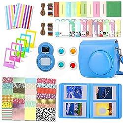 Leebotree 10 en 1. Accessoires pour Appareil Photo Instax Mini 9, Mini 8/8+, Le Package Comprend étui,Album, lentille, filtres, Cadres, Stylo et Autres (Bleu Cobalt)