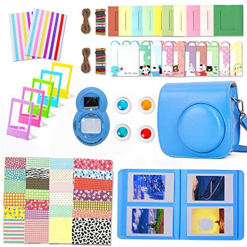Leebotree Kamera Zubehör Kit Kompatibel mit Instax Mini 8 8+/Mini 9 Sofortbildkamera beinhaltet tasche/Album/Selfielinse/Filters/Filmrahmen/Rahmenaufkleber/Eckaufkleber (Cobalt Blau)