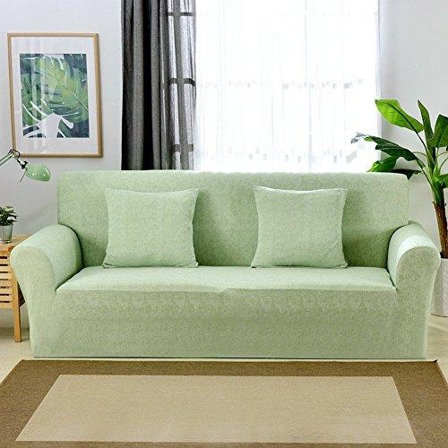 1 2 3 4 Sitzer Sofa Sofabezug Elastischer Sofaüberwurf Rutschfeste Stretch Hussen für Sofa, Einfarbig, Polyester/Elasthan,mit Leinenmuster Couch Cover Protector, grün, 3 Seater:195-230cm