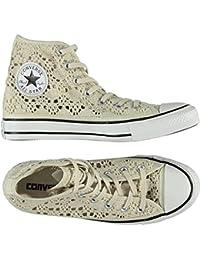 Scarpe Converse All Star Hi Crochet alte beige con tessuto ricamato 549311C