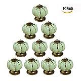 Itian 10 Pezzi Pomello in Ceramica da Cucina Porta Manopole del Cassetto Armadietto Armadio e Cassetti - Forma di Zucca (Verde)