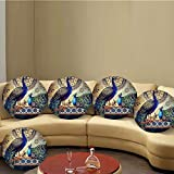 #6: Beautiful couple peacock pattern Round cushion set of 5 16 by16 best decorative pillow cases for sofa and bed 16x16 inches by Aart
