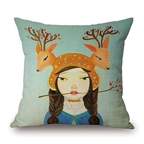 Beautifulseason The Deer Taie d'oreiller du, 40,6x 40,6cm/40, 40cm de décoration, cadeau pour barre de chaise, BF, amoureux, Boy ami, salon, ses proches (chaque côté)