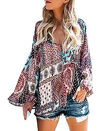 JackenLOVE Primavera y Otoño Mujeres Suelto Top Moda Bohemia Étnica Impresión Remata Shirt tee Blusa Casual