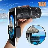 Quner Universal-Objektiv zum Anstecken für Handys, 16 x 52, HD-Teleskop-Kameraobjektiv für iPhone 8/7/6s/6/6 Plus/6s Plus, Samsung Galaxy S8/S8 Plus/S7/S7e/S6/S5/Note5