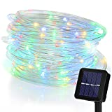 Solar 100 Led Fairy String Lights 10M with Eight Modes Flexible Pipe Protection Waterproof for Christmas Wedding Festival Party Garden Outdoor Indoor Home Decoration (Multi)