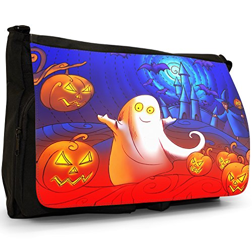 Fancy A Bag Borsa Messenger nero Moonlight Bats White Ghost With Pumpkins In Haunted Castle