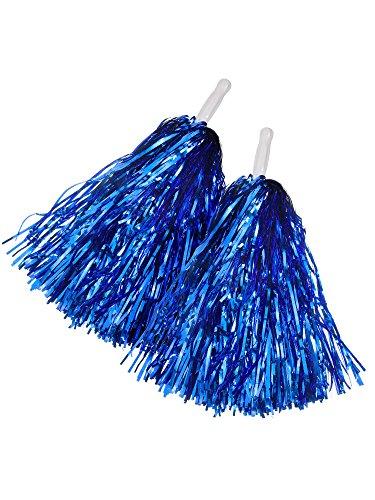 1 Paar Cheerleading Poms Kunststoff Hand Shank Cheerleader Pompons für Fußball Basketball (Rot) (Königsblau)