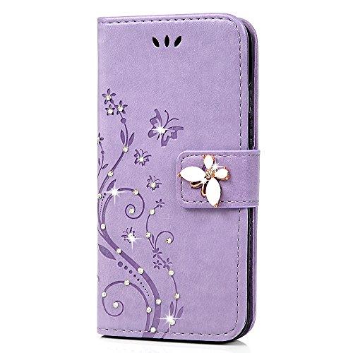Mavis's Diary Étui iPhone 6/iPhone 6S Coque en Cuir Housse de Protection Phone Case Cover Violet Fleur Papillon Imprimé Étui à Rabat Support Portefeuille Fente de Carte Fermeture Magnétique+Chiffon violet