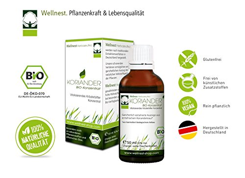 Wellnest Koriander Bio Extrakt   Detox Konzentrat hochdosiert   Reich an ätherischen Ölen   Natürlich Entschlacken   50 ml