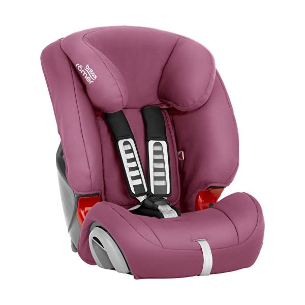 Britax Römer EVOLVA 1-2-3 Group 1-2-3 (9-36kg) Car Seat - Wine Rose  The EVOLVA 1-2-3 grows with your child as it can be used for children from 9 kg to 36 kg. This makes it the only car seat you'll need after an infant carrier Highback booster protection - As your little one grows, you can easily switch from the integral harness (up to 18 kg) to using the car's 3-point seat belt (up to 36 kg) to secure the child in the seat.  The upper and lower belt guides will provide correct positioning of the seat belt Recline position for all ages - the recline position provides a comfortable sleeping position for your child. simply adjust the seat before fitting it in your car 4