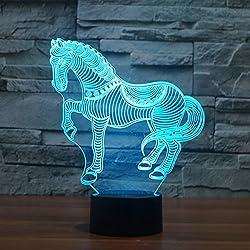 Animali Zebra Horse 3D Illusion Lights, FZAI 7 colori Touch Switch Desk LED Night Lamp con cavo USB 150cm per i bambini regalo Home Decor