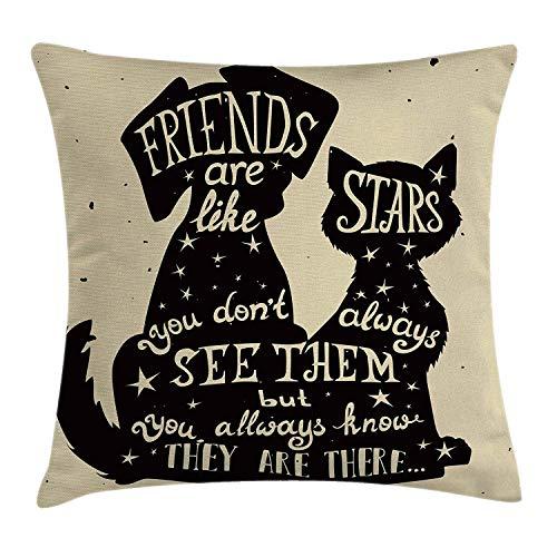 vikkk Inspirierende Throw Pillow Kissenbezug, Katze und Hund Silhouetten mit Friendship Themed Phrase und Stars Grungy Display, Dekorative quadratische Akzent Kissenbezug, Black Tan 66x50CM -