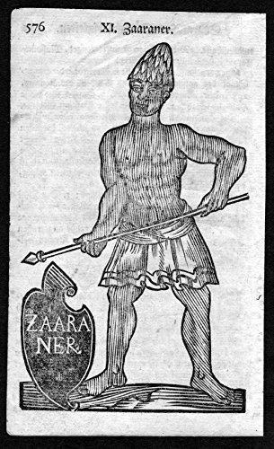 Tracht Afrika (Zaaraner - Sahara Afrika Africa Tracht Trachten costumes Holzschnitt antique)