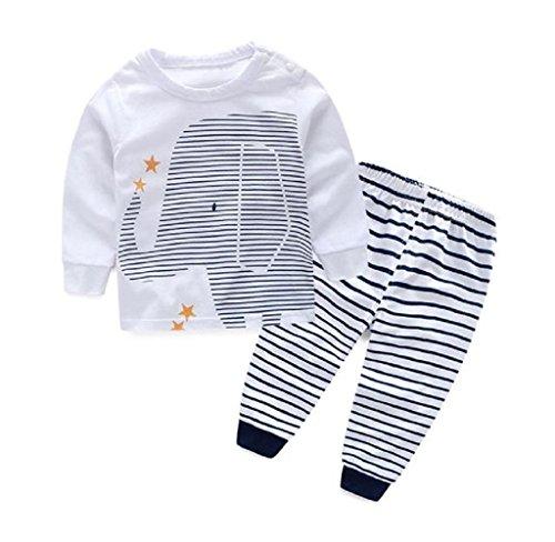 Tefamore Baby Outfit Jungenbekleidung drucken T-Shirt Tops + Streifen lange Hosen 1Set (90) (Baby Boys Strickjacke)