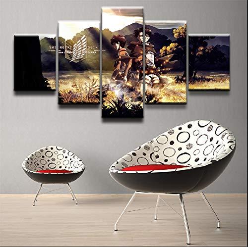 HOMOPK 5 Stücke Malerei Modulare Tapete HD Druck Auf Leinwand Wandkunst Wasserdicht Poster Bad Wohnzimmer Wohnkultur Bild Angriff auf Titan C,Rahmen